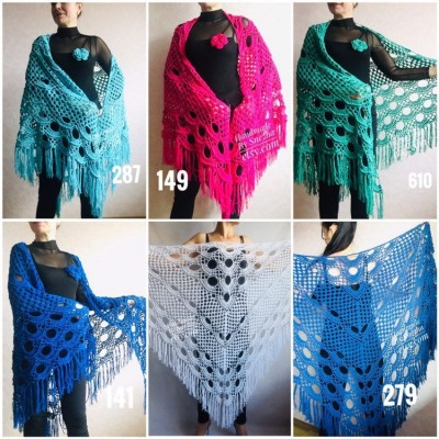 Navy Blue White COTTON Crochet SHAWL Granny Square Bridesmaid Wraps Custom Color Fringe Summer Lace Shawl Hand Knit Triangle Flower Black