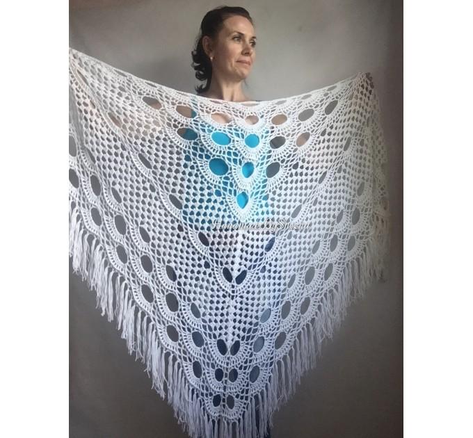 Navy Blue White COTTON Crochet SHAWL Granny Square Bridesmaid Wraps Custom Color Fringe Summer Lace Shawl Hand Knit Triangle Flower Black  Shawl / Wraps  4