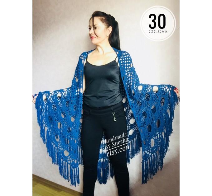 Navy Blue White COTTON Crochet SHAWL Granny Square Bridesmaid Wraps Custom Color Fringe Summer Lace Shawl Hand Knit Triangle Flower Black  Shawl / Wraps  5