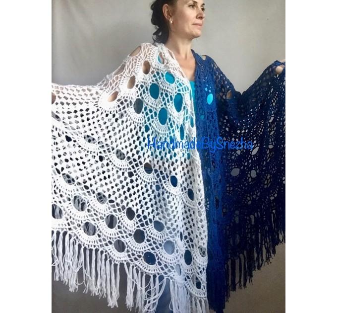 Navy Blue White COTTON Crochet SHAWL Granny Square Bridesmaid Wraps Custom Color Fringe Summer Lace Shawl Hand Knit Triangle Flower Black  Shawl / Wraps  6