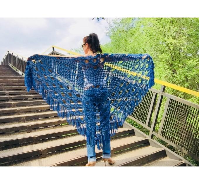 Navy Blue White COTTON Crochet SHAWL Granny Square Bridesmaid Wraps Custom Color Fringe Summer Lace Shawl Hand Knit Triangle Flower Black  Shawl / Wraps  7