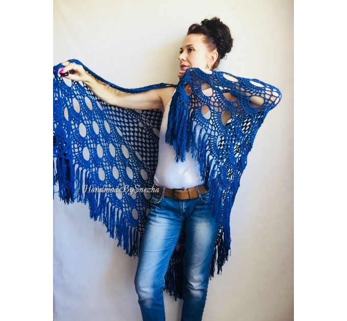 Navy Blue White COTTON Crochet SHAWL Granny Square Bridesmaid Wraps Custom Color Fringe Summer Lace Shawl Hand Knit Triangle Flower Black  Shawl / Wraps  8