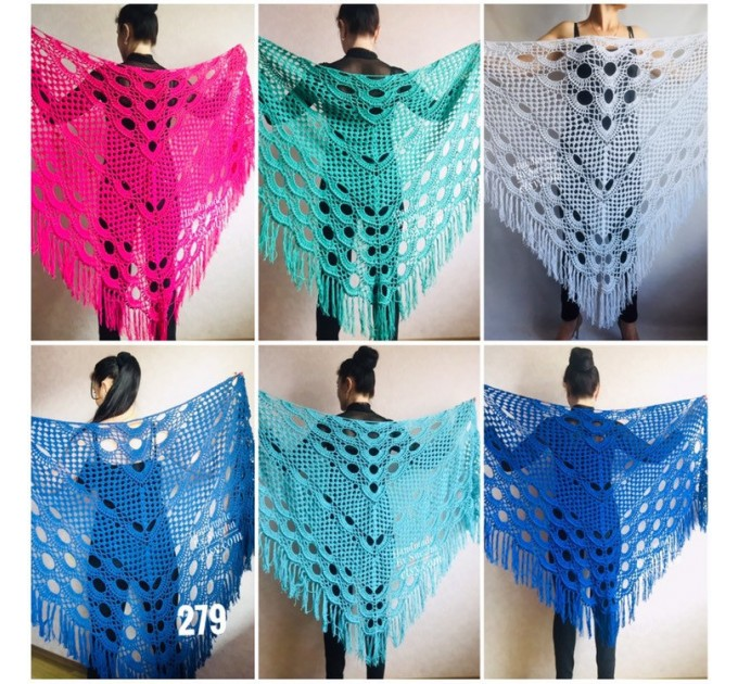 Crochet SHAWL Granny Square Bridesmaid Wraps White COTTON Custom Color Fringe Summer Lace Shawl Hand Knit Triangle Flower Black Navy Blue  Shawl / Wraps