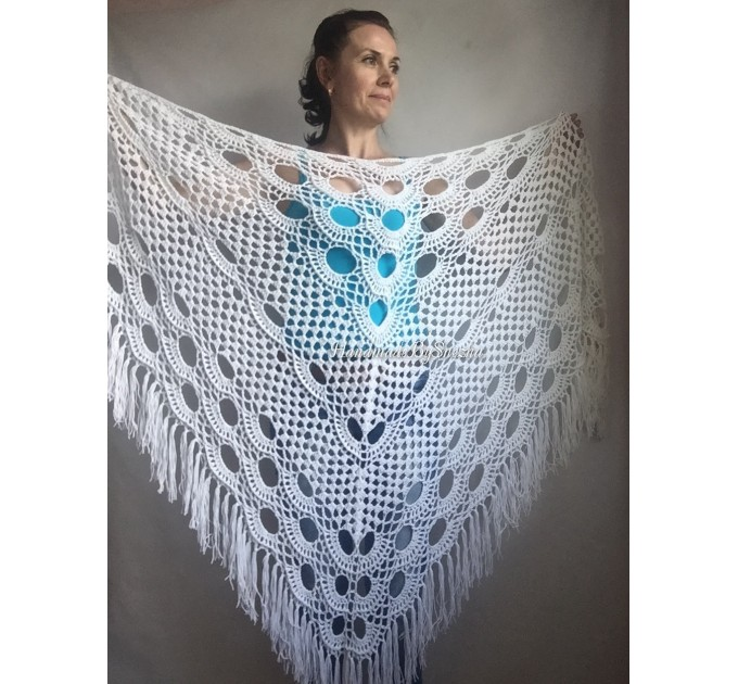 Crochet SHAWL Granny Square Bridesmaid Wraps White COTTON Custom Color Fringe Summer Lace Shawl Hand Knit Triangle Flower Black Navy Blue  Shawl / Wraps  5