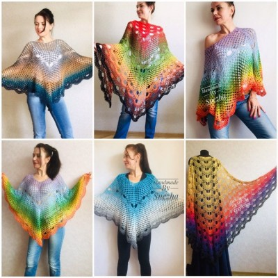 Rainbow Crochet Shawl Wraps Cotton Big Size Vintage PONCHO Granny Square Summer Gay Pride Wedding Gift Triangle Bohemian