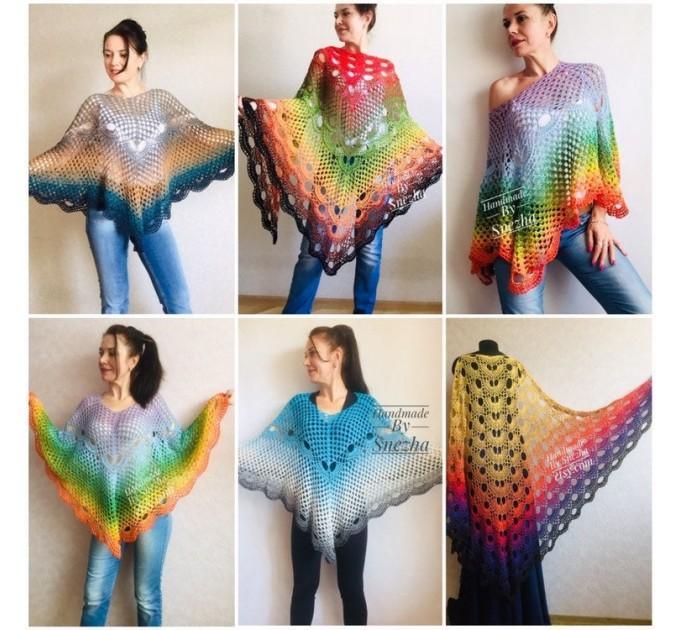 Rainbow Crochet Shawl Wraps Cotton Big Size Vintage PONCHO Granny Square Summer Gay Pride Wedding Gift Triangle Bohemian  Shawl / Wraps
