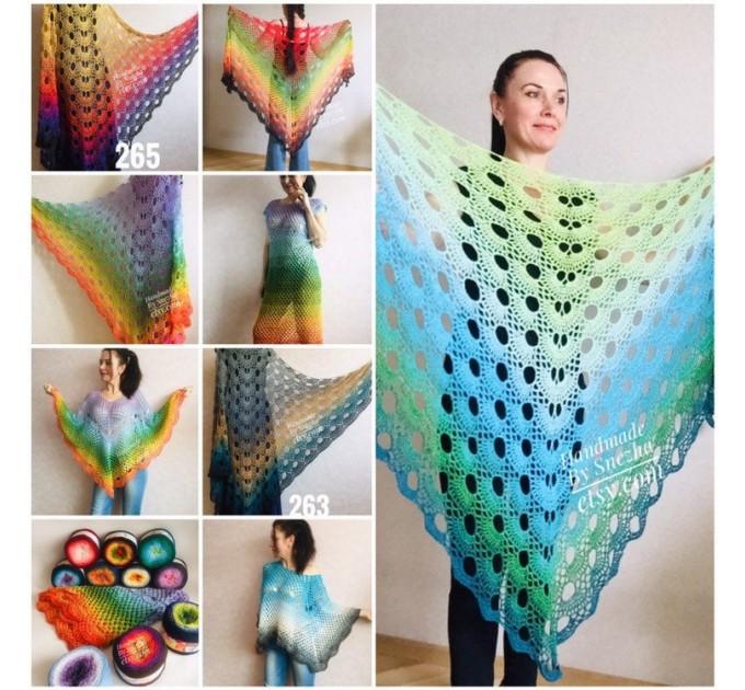 Rainbow Crochet Shawl Wraps Cotton Big Size Vintage PONCHO Granny Square Summer Gay Pride Wedding Gift Triangle Bohemian  Shawl / Wraps  2
