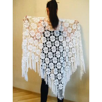 Prayer Shawl, Bridal Shawl Crochet Shawl Pin Bridesmaid Easy Crochet Shawl, Scarf Gift for-Women-Mom-Birthday-gift-Grandma Wedding Cape Wrap