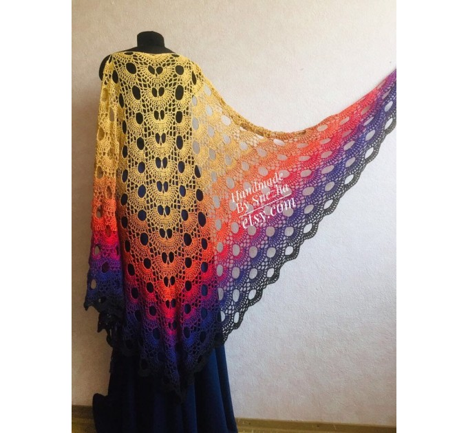 Crochet Shawl Wraps PONCHO Cotton Rainbow Big Size Vintage Pride Gift Lace Shawl Triangle Bohemian Granny Square Flower Bridesmaid  Shawl / Wraps  3