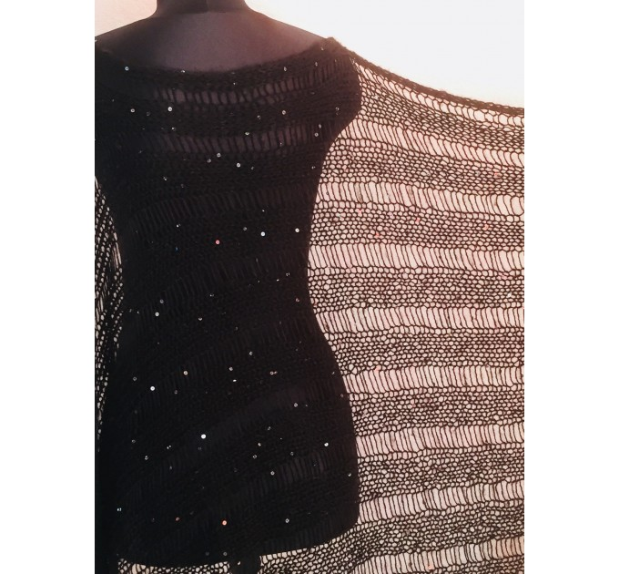 BLACK Shawl Wraps Mohair GRAY Crochet Shawl Fringe Star Lace Shawl Knit Wool Gifts for Wife Bridal Wedding Black Mohair Boho Triangle Scarf
