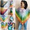 Hand Knit PONCHO Crochet Shawl Big Size Vintage Wraps Granny Square Summer Cover Up Rainbow Cotton Shawl Triangle Wraps Flower Bridesmaid
