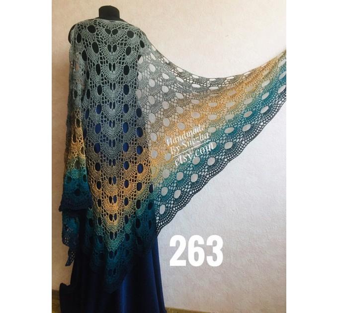 Hand Knit PONCHO Crochet Shawl Big Size Vintage Wraps Granny Square Summer Cover Up Rainbow Cotton Shawl Triangle Wraps Flower Bridesmaid  Poncho  6