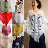 Ivory Crochet Shawl Wrap Mohair Fringe Big Size Triangle Shawl Hand Knit Bridal Wedding Wool Shawl Gifts for Wife Beige Bohemian Shawl