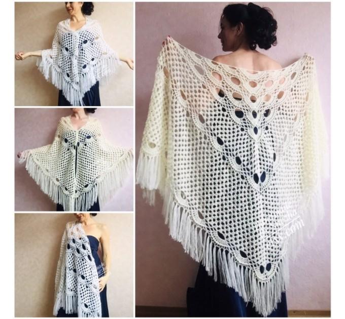 Ivory Crochet Shawl Wrap Mohair Fringe Big Size Triangle Shawl Hand Knit Bridal Wedding Wool Shawl Gifts for Wife Beige Bohemian Shawl  Shawl / Wraps  2
