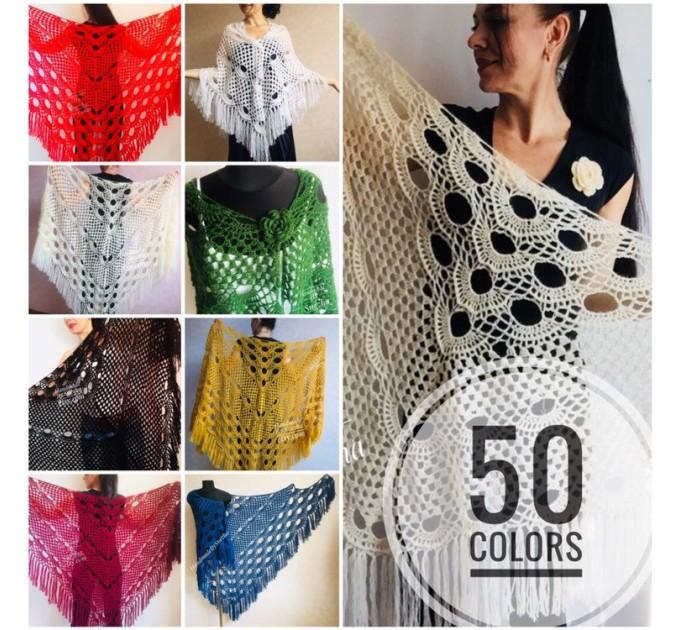 Ivory Crochet Shawl Wrap Mohair Fringe Big Size Triangle Shawl Hand Knit Bridal Wedding Wool Shawl Gifts for Wife Beige Bohemian Shawl  Shawl / Wraps  4