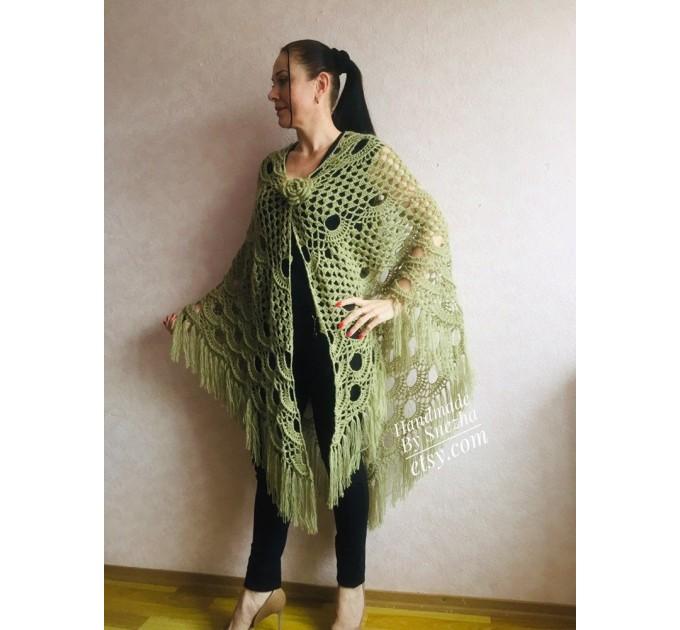 Ivory Crochet Shawl Wrap Mohair Fringe Big Size Triangle Shawl Hand Knit Bridal Wedding Wool Shawl Gifts for Wife Beige Bohemian Shawl  Shawl / Wraps  6