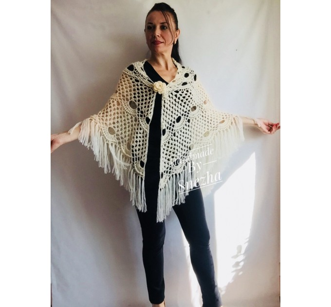 Ivory Crochet Shawl Wrap Mohair Fringe Big Size Triangle Shawl Hand Knit Bridal Wedding Wool Shawl Gifts for Wife Beige Bohemian Shawl  Shawl / Wraps  7