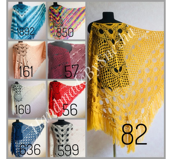 Ivory Crochet Shawl Wrap Mohair Fringe Big Size Triangle Shawl Hand Knit Bridal Wedding Wool Shawl Gifts for Wife Beige Bohemian Shawl  Shawl / Wraps  8