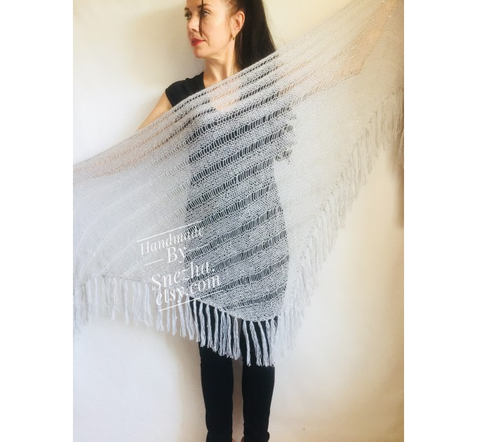 Gray knit shawl Fringe Knitted shawl Chunky shawl wrap Oversized gray shawl Wool shawl wrap Triangle knit scarf Dark gray wrap scarf shawl  Shawl / Wraps  4