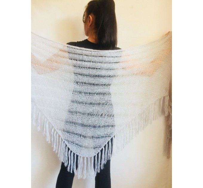 Gray knit shawl Fringe Knitted shawl Chunky shawl wrap Oversized gray shawl Wool shawl wrap Triangle knit scarf Dark gray wrap scarf shawl  Shawl / Wraps  5
