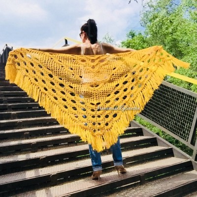 Mustard 50 COLORS Crochet Granny Shawl Large Mohair Triangle Big Size Shawl Fringe Long Handknit Woman Bohemian Festi Hand Knit Wrap