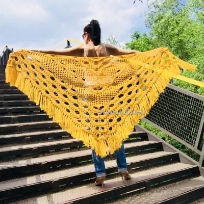 Mustard 50 COLORS Crochet Granny Shawl Large Mohair Triangle Big Size Shawl Fringe Long Handknit Woman Bohemian Festi Hand Knit Wrap