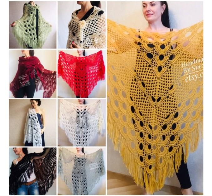 Mustard 50 COLORS Crochet Granny Shawl Large Mohair Triangle Big Size Shawl Fringe Long Handknit Woman Bohemian Festi Hand Knit Wrap  Shawl / Wraps  2