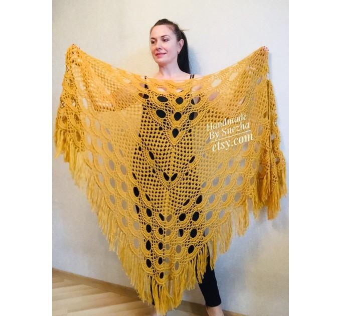 Mustard 50 COLORS Crochet Granny Shawl Large Mohair Triangle Big Size Shawl Fringe Long Handknit Woman Bohemian Festi Hand Knit Wrap  Shawl / Wraps  3