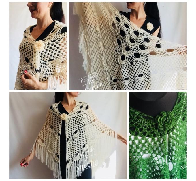 Mustard 50 COLORS Crochet Granny Shawl Large Mohair Triangle Big Size Shawl Fringe Long Handknit Woman Bohemian Festi Hand Knit Wrap  Shawl / Wraps  6