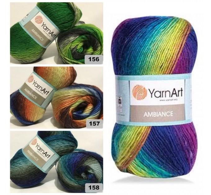 YarnArt AMBIANCE Rainbow Gradient Wool Yarn 100 g 250 meters Multicolor Wool yarn for crochet Shawl Scarf yarn magic soft color choice yarn  Yarn  5