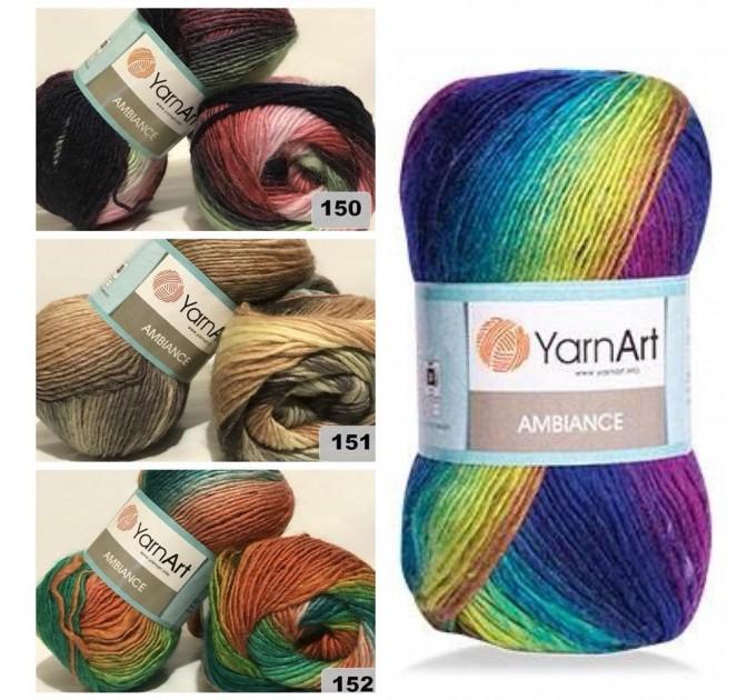 YarnArt AMBIANCE Rainbow Gradient Wool Yarn 100 g 250 meters Multicolor Wool yarn for crochet Shawl Scarf yarn magic soft color choice yarn  Yarn  4