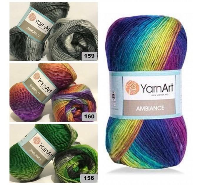 YarnArt AMBIANCE Rainbow Gradient Wool Yarn 100 g 250 meters Multicolor Wool yarn for crochet Shawl Scarf yarn magic soft color choice yarn  Yarn  3
