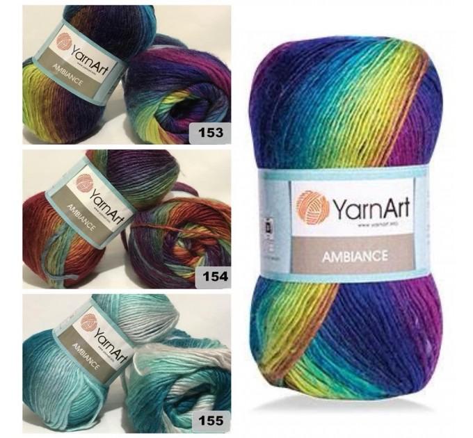 YarnArt AMBIANCE Rainbow Gradient Wool Yarn 100 g 250 meters Multicolor Wool yarn for crochet Shawl Scarf yarn magic soft color choice yarn  Yarn  2