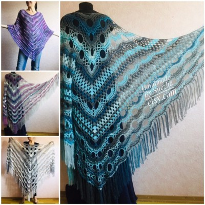 Crochet Shawl Triangle Fringe Big Size Wrap gift brooch Gray Alpaca Long Mohair Woman Bohemian Festi Hand Knit Shawl Black Granny