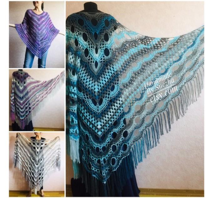 Crochet Shawl Triangle Fringe Big Size Wrap gift brooch Gray Alpaca Long Mohair Woman Bohemian Festi Hand Knit Shawl Black Granny  Shawl / Wraps