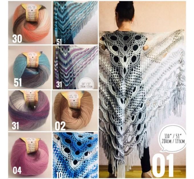 Crochet Shawl Triangle Fringe Big Size Wrap gift brooch Gray Alpaca Long Mohair Woman Bohemian Festi Hand Knit Shawl Black Granny  Shawl / Wraps  3