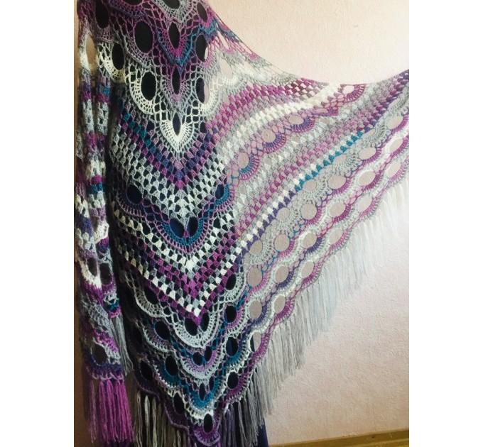 Crochet Shawl Triangle Fringe Big Size Wrap gift brooch Gray Alpaca Long Mohair Woman Bohemian Festi Hand Knit Shawl Black Granny  Shawl / Wraps  4