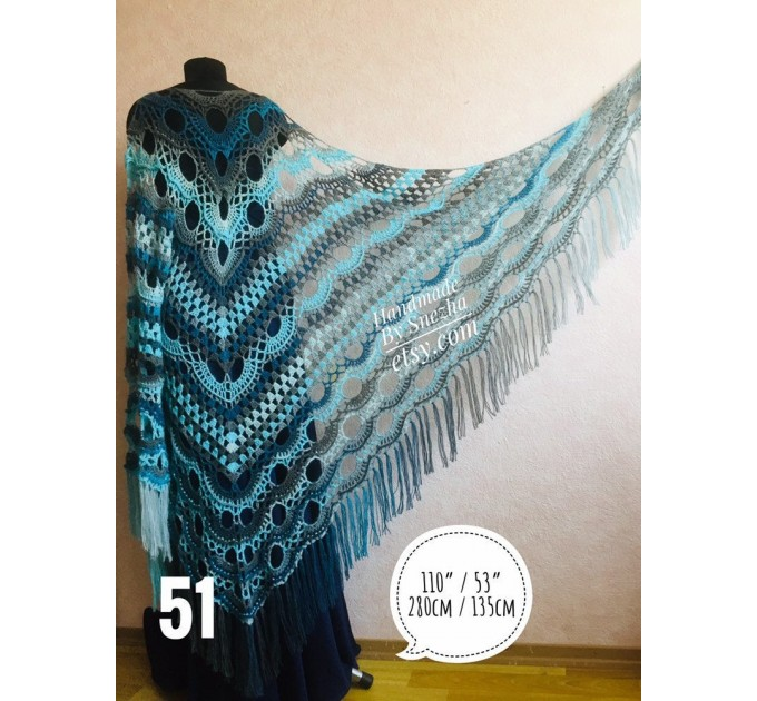 Crochet Shawl Triangle Fringe Big Size Wrap gift brooch Gray Alpaca Long Mohair Woman Bohemian Festi Hand Knit Shawl Black Granny  Shawl / Wraps  5