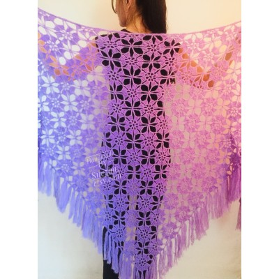 Violet Crochet Shawl Fringe 90 COLOR Wraps Hand Knit Lace Flowers Mohair Shawl Triangle Woman Bohemian Bridesmaid Wool Shawl Granny Square