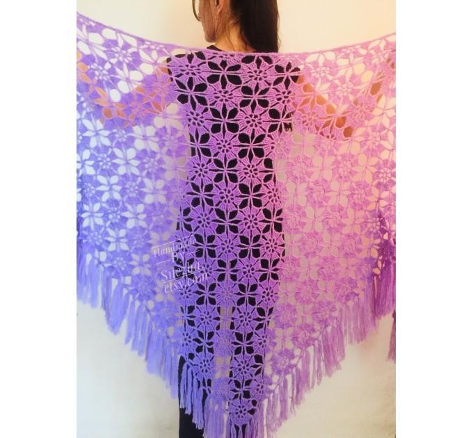 Violet Crochet Shawl Fringe 90 COLOR Wraps Hand Knit Lace Flowers Mohair Shawl Triangle Woman Bohemian Bridesmaid Wool Shawl Granny Square  Shawl / Wraps  1