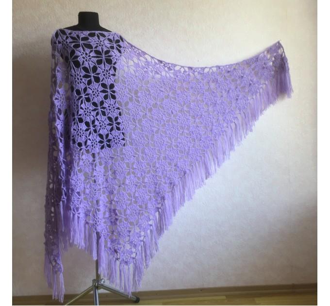 Violet Crochet Shawl Fringe 90 COLOR Wraps Hand Knit Lace Flowers Mohair Shawl Triangle Woman Bohemian Bridesmaid Wool Shawl Granny Square  Shawl / Wraps  3