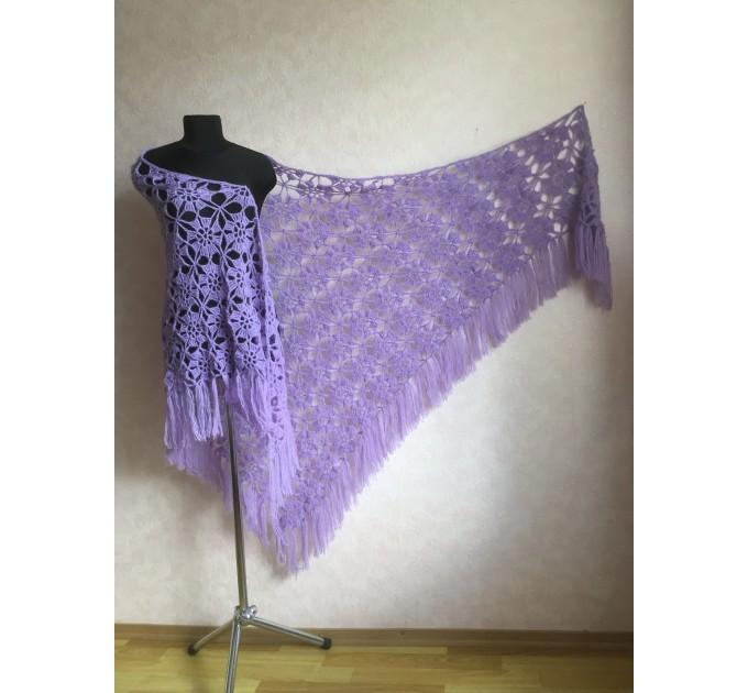 Violet Crochet Shawl Fringe 90 COLOR Wraps Hand Knit Lace Flowers Mohair Shawl Triangle Woman Bohemian Bridesmaid Wool Shawl Granny Square  Shawl / Wraps  4