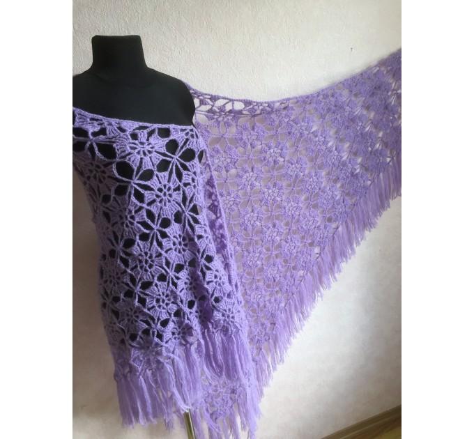 Violet Crochet Shawl Fringe 90 COLOR Wraps Hand Knit Lace Flowers Mohair Shawl Triangle Woman Bohemian Bridesmaid Wool Shawl Granny Square  Shawl / Wraps  5