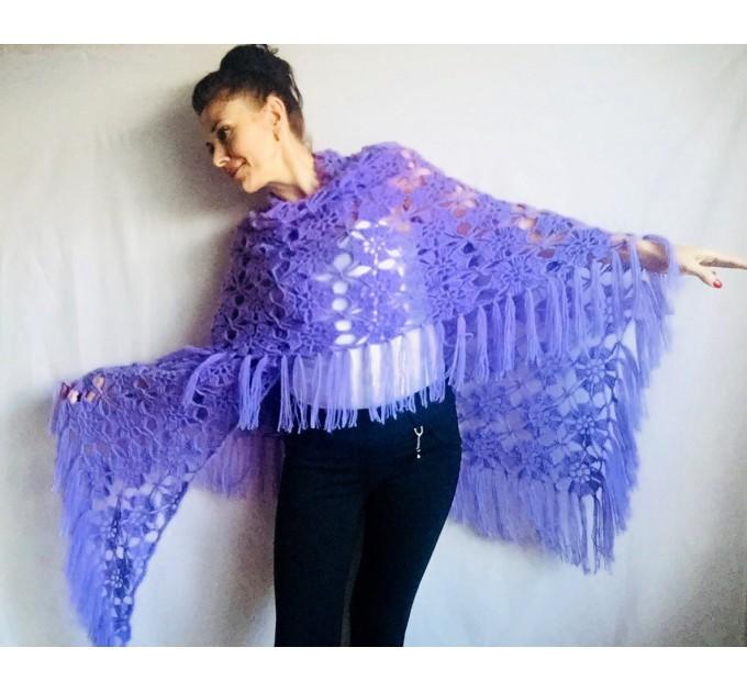 Violet Crochet Shawl Fringe 90 COLOR Wraps Hand Knit Lace Flowers Mohair Shawl Triangle Woman Bohemian Bridesmaid Wool Shawl Granny Square  Shawl / Wraps  6