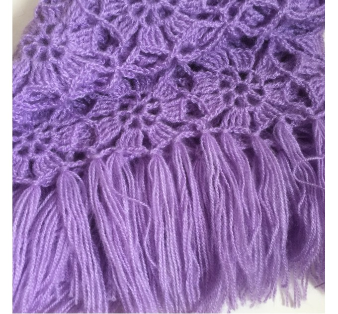 Violet Crochet Shawl Fringe 90 COLOR Wraps Hand Knit Lace Flowers Mohair Shawl Triangle Woman Bohemian Bridesmaid Wool Shawl Granny Square  Shawl / Wraps  7
