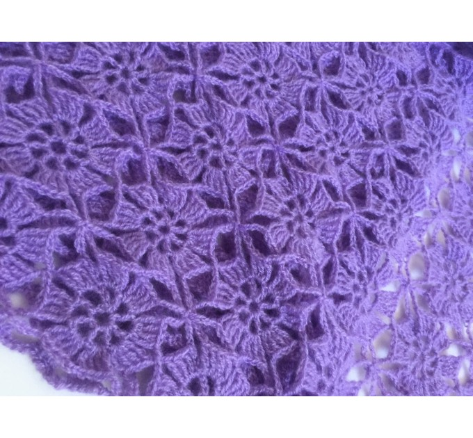 Violet Crochet Shawl Fringe 90 COLOR Wraps Hand Knit Lace Flowers Mohair Shawl Triangle Woman Bohemian Bridesmaid Wool Shawl Granny Square  Shawl / Wraps  8