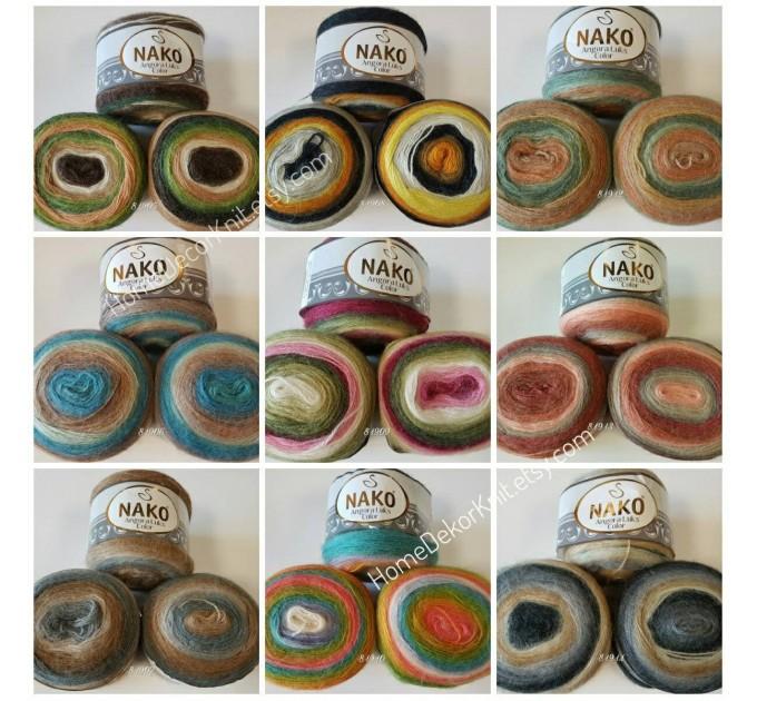 ANGORA LUKS COLOR Nako Gradient Yarn Rainbow  Mohair Multicolor Flowers Wool Batik Light Yarn Crochet Shawl Wraps Yarn Knitting Scarf Poncho  Yarn  1