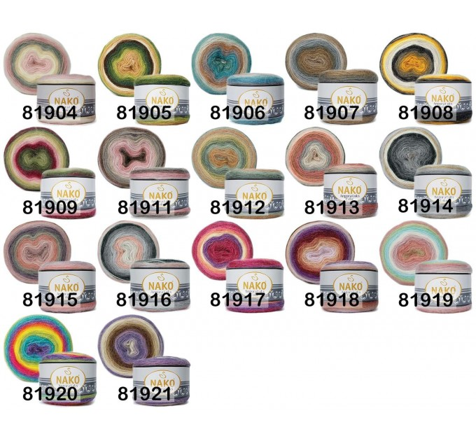 ANGORA LUKS COLOR Nako Gradient Yarn Rainbow  Mohair Multicolor Flowers Wool Batik Light Yarn Crochet Shawl Wraps Yarn Knitting Scarf Poncho  Yarn  2