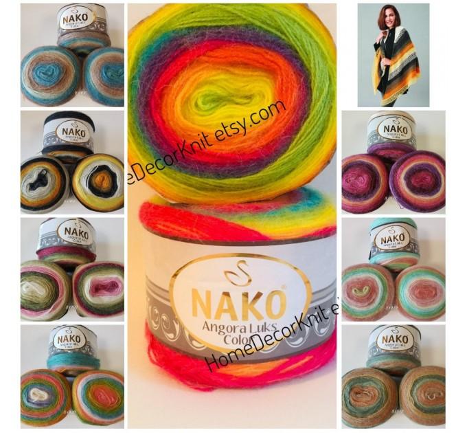 ANGORA LUKS COLOR Nako Gradient Yarn Rainbow  Mohair Multicolor Flowers Wool Batik Light Yarn Crochet Shawl Wraps Yarn Knitting Scarf Poncho  Yarn  3