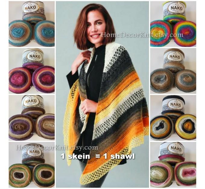 ANGORA LUKS COLOR Nako Gradient Yarn Rainbow  Mohair Multicolor Flowers Wool Batik Light Yarn Crochet Shawl Wraps Yarn Knitting Scarf Poncho  Yarn  6